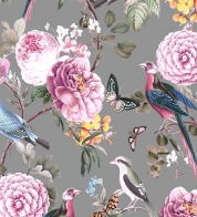 Digiprint cotton jersey birds w butterflies on grey GOTS