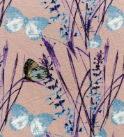 Digiprint cotton jersey butterflies on old pink