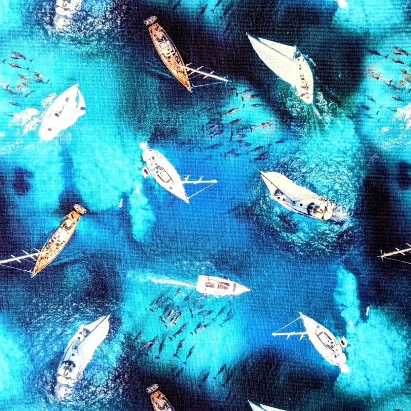 Puuvillatrikotaaž digiprindiga jahiga merel
