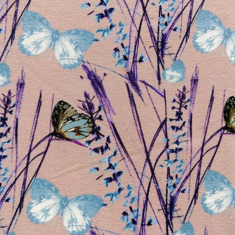 Puuvillatrikotaaž digiprindiga liblikad maheroosal