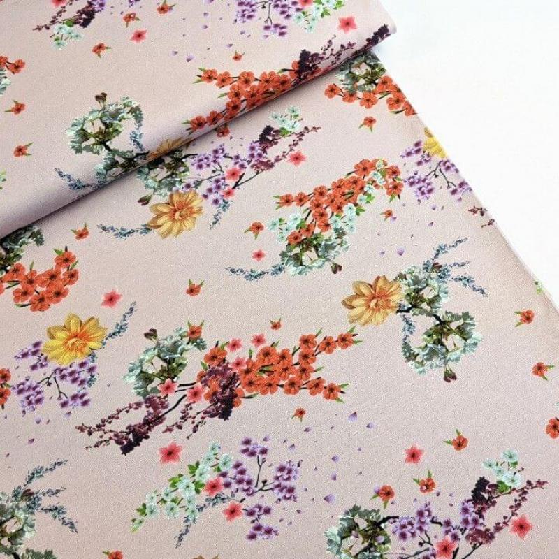 Puuvillatrikotaaž digiprindiga aasia lilled vanaroosal