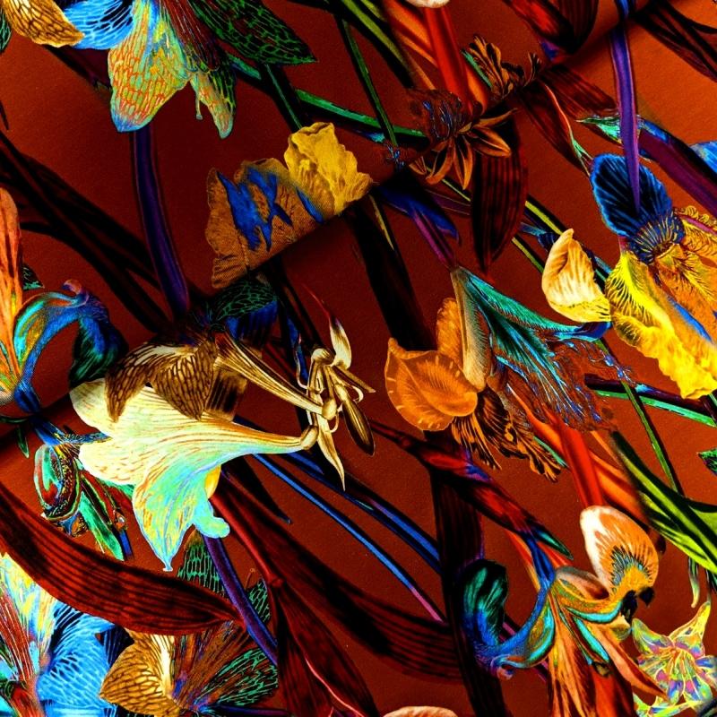 Puuvillatrikotaaž digiprindiga iirised ja liiliad