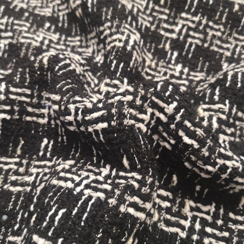 Luksuslik tviid (buklee) must/valge hõbeniidiga