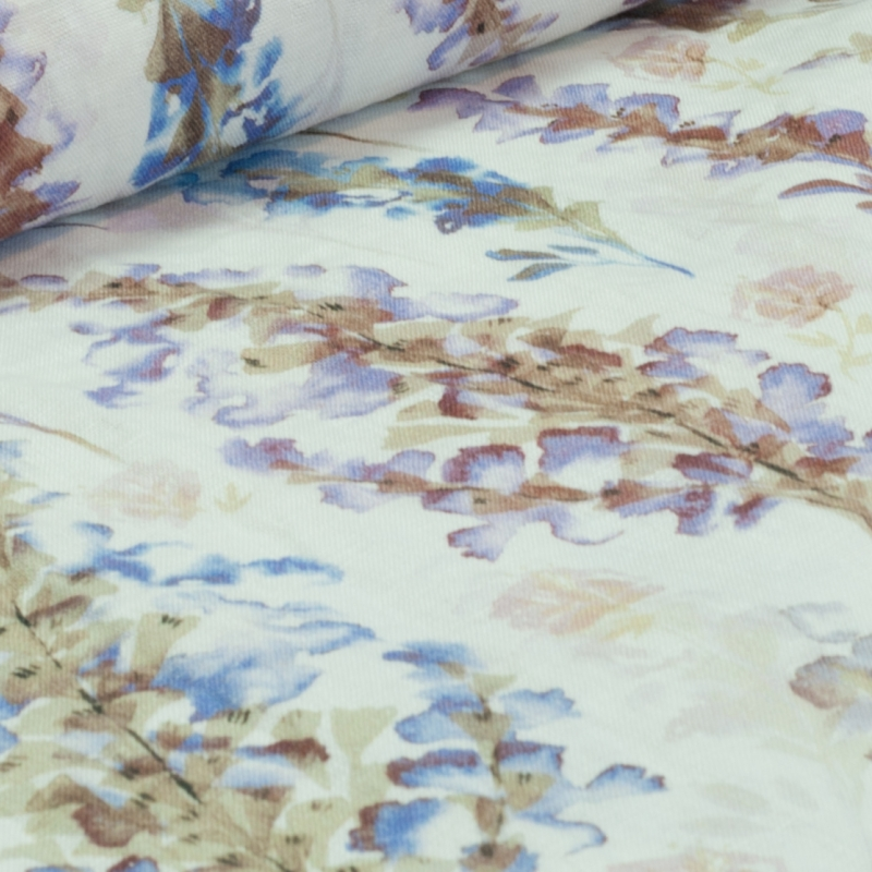 Linane kangas lilled valgel (kivipesu)