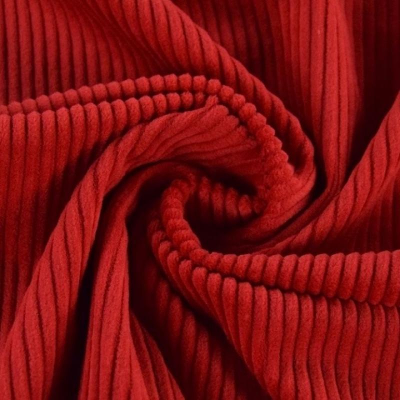 Velvet trikotaaž laia triibuga telliskivi punane