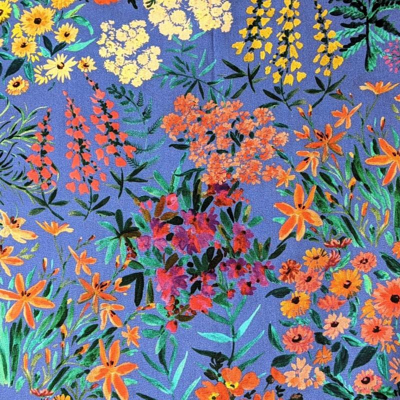 Luksuslik õhuke puuvillane kangas erksad lilled