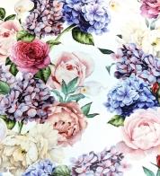 Puuvillatrikotaaž digiprindiga hortensia GOTS