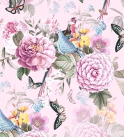 Digiprint cotton jersey birds w butterflies on pink GOTS