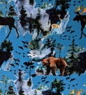 Puuvillatrikotaaž digiprindiga põder ja karu sinisel GOTS