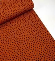 Cotton jersey painted dots on cognac brown_GOTS