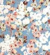Puuvillatrikotaaž lilled sinisel GOTS
