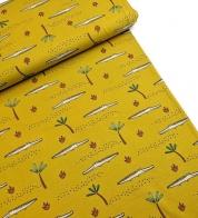 Cotton jersey crocodiles on mustard yellow_GOTS