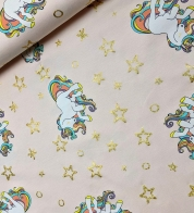 Digiprint cotton jersey unicorn on lightpink