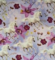Puuvillatrikotaaž digiprindiga valged hobused lillal