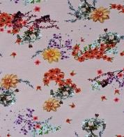 Puuvillatrikotaaž digiprindiga aasia lilled lillakasroosal