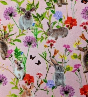 Digiprint cotton jersey rabbits on meadow