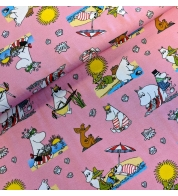 Digiprint cotton jersey muumins on vacation pink