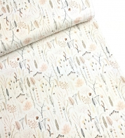 Digiprint cotton jersey moose and deer on natural white
