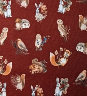 Digiprint cotton jersey small forest animals