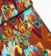 Digiprint cotton jersey irises and lilies