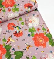 Digiprint cotton jersey hummingbird on blush