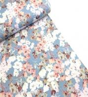 Digiprint cotton jersey flowers on blue GOTS
