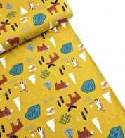 Cotton jersey wild animals on mustard yellow
