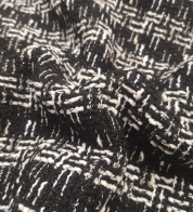 Luxurious tweed (buklee) black/white with silver thread