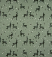 Digiprint cotton jersey goats on green