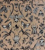 Viscose beetles and butterflies on pink