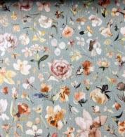 Puuvillakrepp (musliin) väikesed lilled tuhmrohelisel GOTS