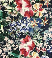 Stretch cotton satin floral dark blue