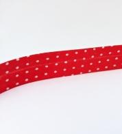 Puuvillane diagonaalkant (15 mm) punane täpiline