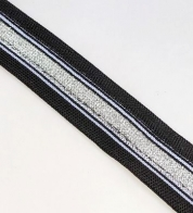 Knitted ribbon black/silver (25 mm) for side stripe